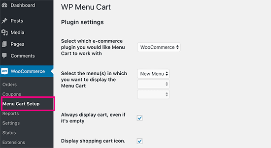 Menu Cart settings