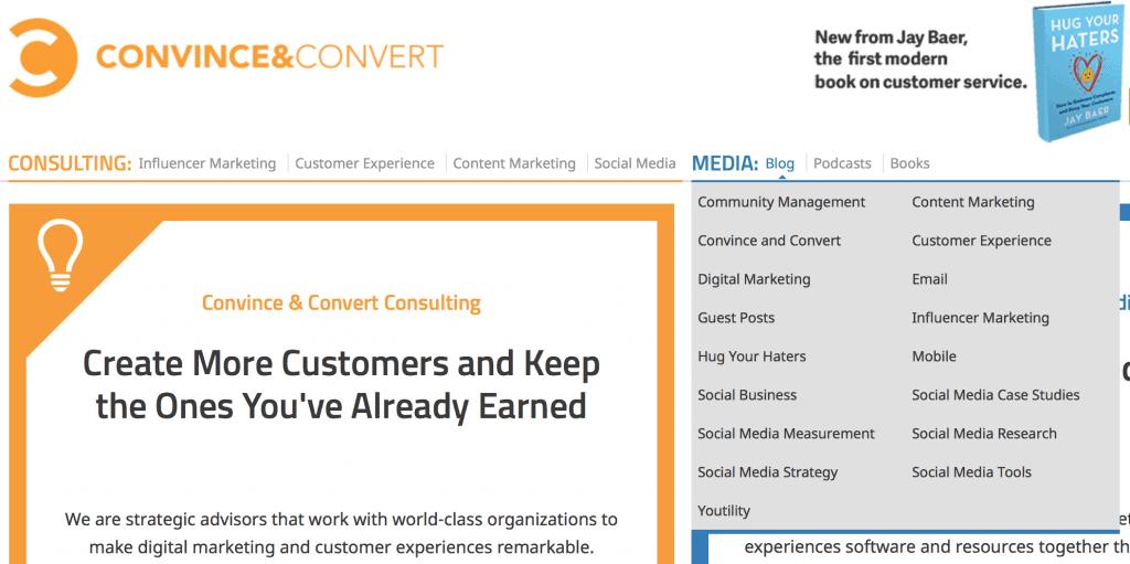 Convince and Convert blog segmentation